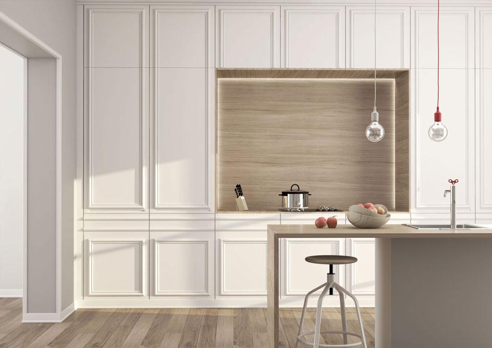 Rendering interattivo di uno spazio living cucina con i prodotti TWE S.r.l.