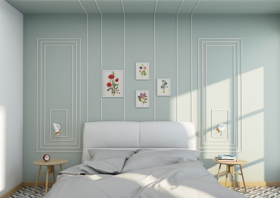 Rendering interattivo di uno spazio bedroom con i prodotti TWE S.r.l.