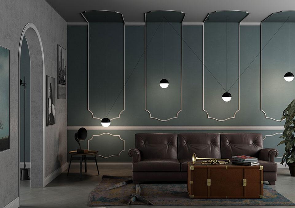 Rendering interattivo di uno spazio living con i prodotti TWE S.r.l.